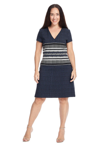Mixed Print Fit & Flare Dress In Navy