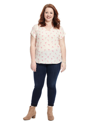 Short Sleeve Flamingo Printed Top