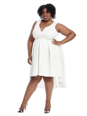 Hi-Lo Ivory Fit And Flare Dress