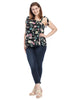Floral Asymmetrical Top With Ties