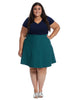 Twofer Navy And Teal Print Fit And Flare Dress