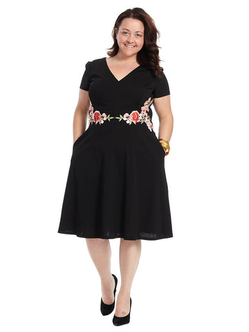 Floral Applique Fit And Flare Dress