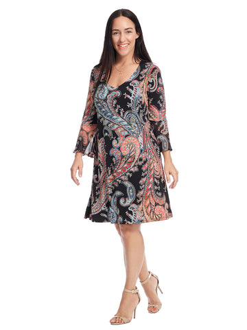 Chiffon Sleeve Paisley Dress