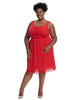 Crochet Trim Red Fit And Flare Dress