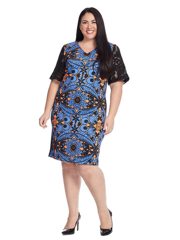 Studio Printed Dress With Lace Sleeves