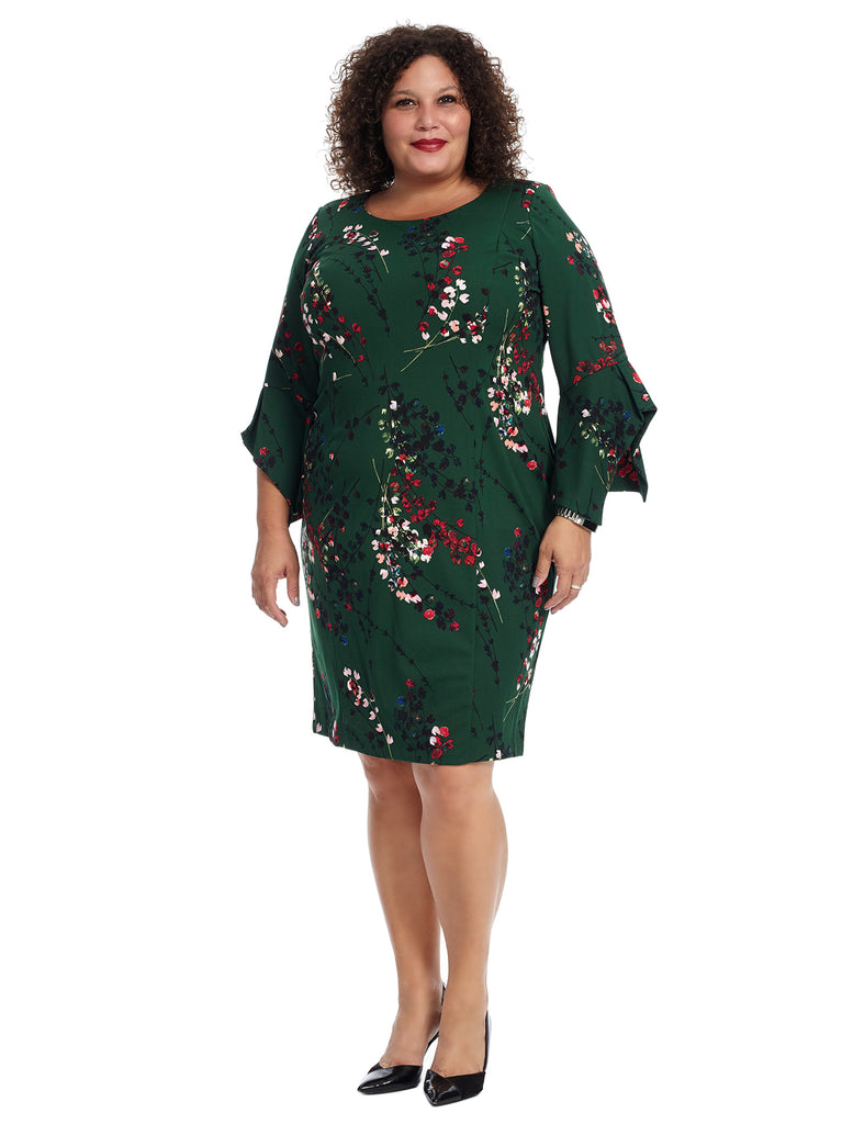Bell Sleeve Green Floral Shift Dress