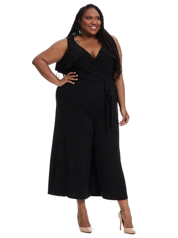 Belted Jumpsuit With Ruffle Detail