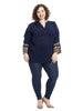 Patchwork Sleeve Navy Tunic