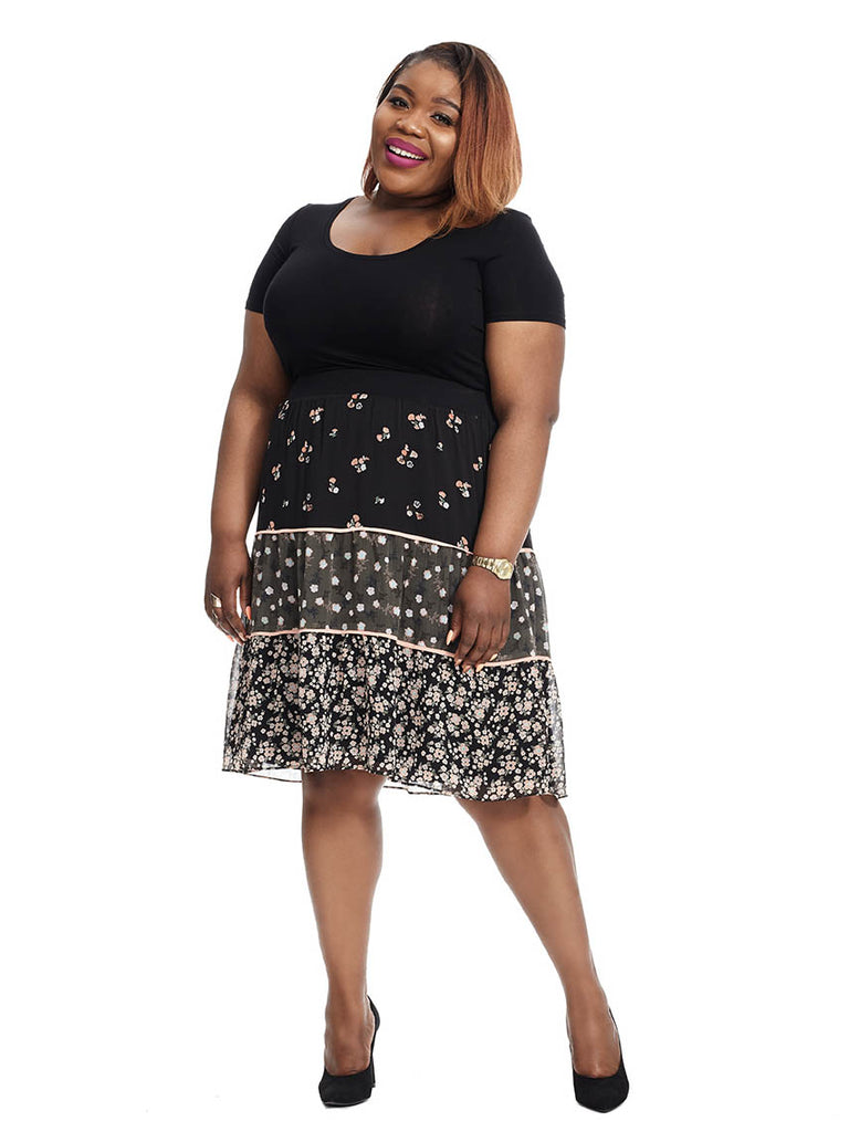 Tiered Mixed Floral Skirt
