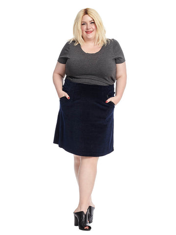 A-Line Skirt In Textured Blue