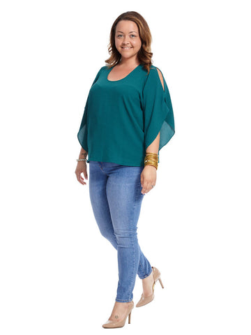 Flutter Top In Viridian Green