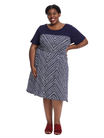 Short Sleeve Navy Print Fit And Flare Dress