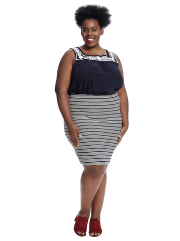 Striped Pull On Pencil Skirt