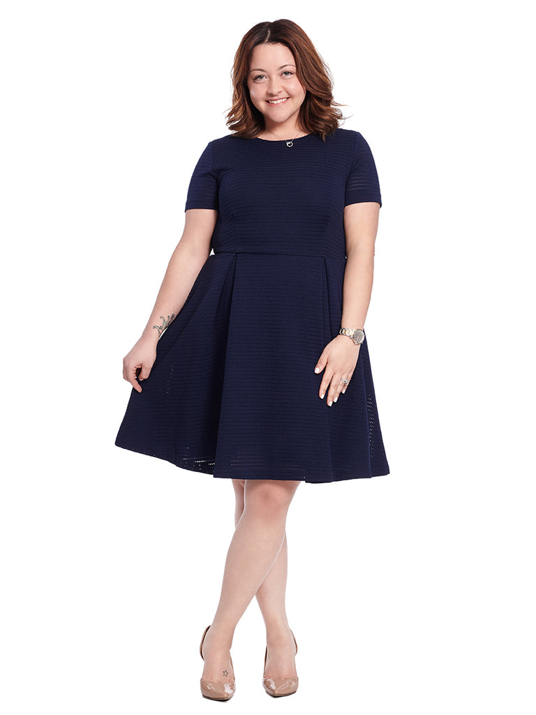 Short Sleeve Navy Eyelet Fit And Flare Dress