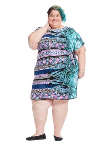 Side Gathered Dress In Tropical Palm