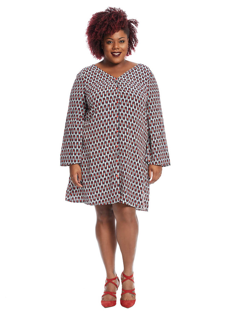 Tunic Dress In Lipstick Print