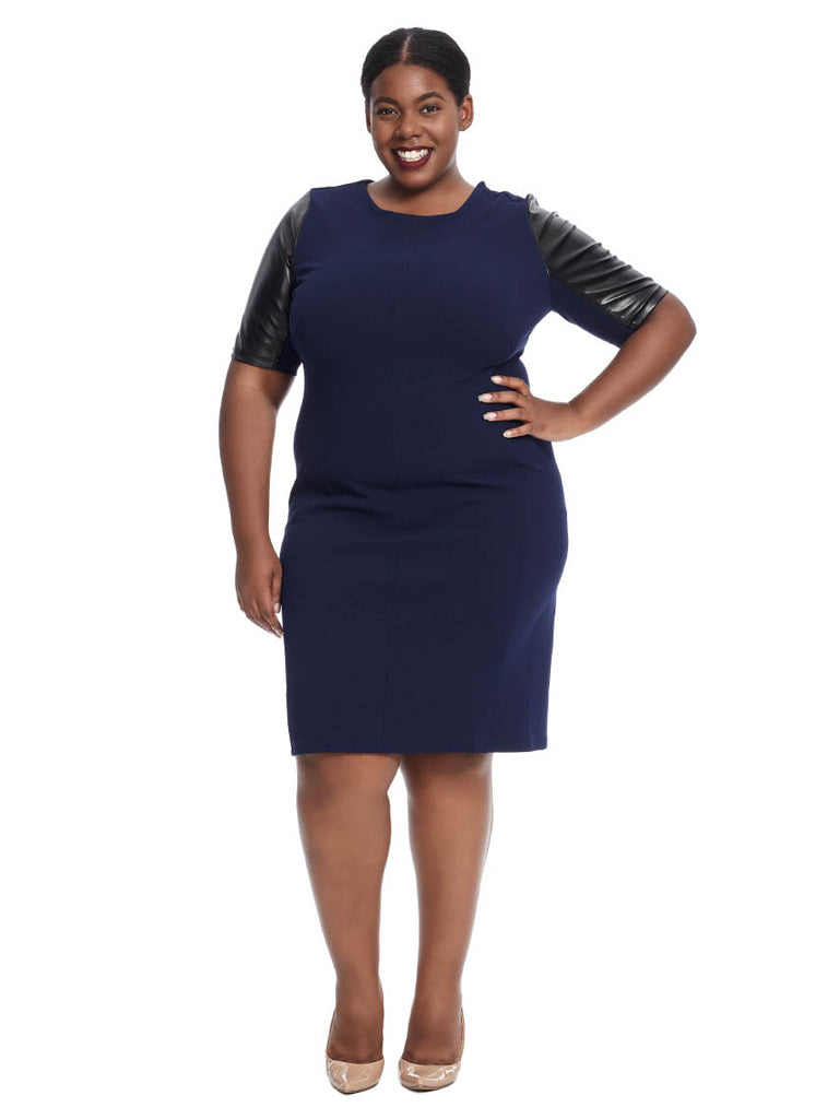Short Sleeve Shift Dress In Navy And Black