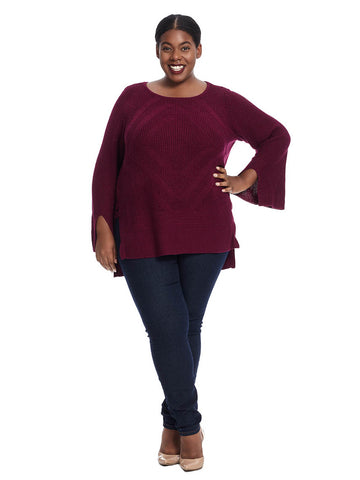 Pullover Tunic Sweater In Persian Plum