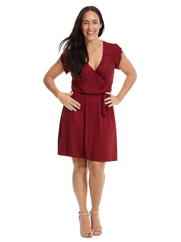 Surplice Burgundy Dress