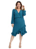 Ruffle Hem Blue Faux Wrap Dress