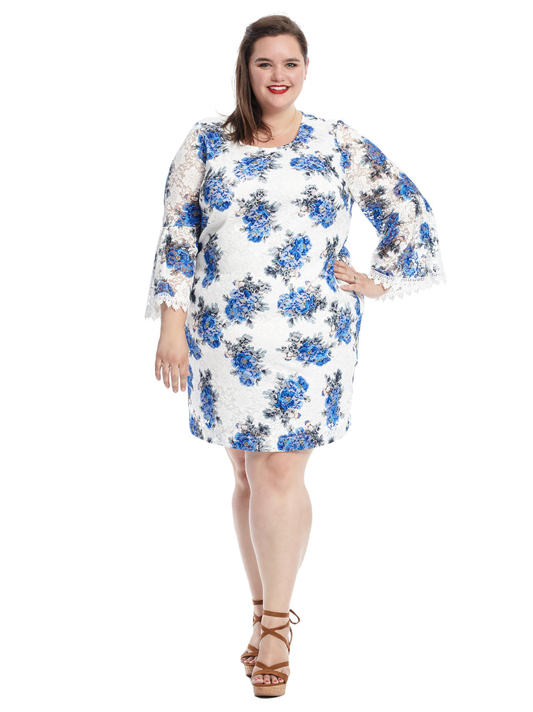 Bell Sleeve Blue Floral Sheath Dress
