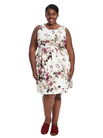 Sleeveless Fit And Flare Floral Printed Dress In Ivory