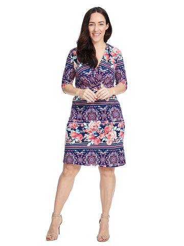 Surplice Floral Print Dress