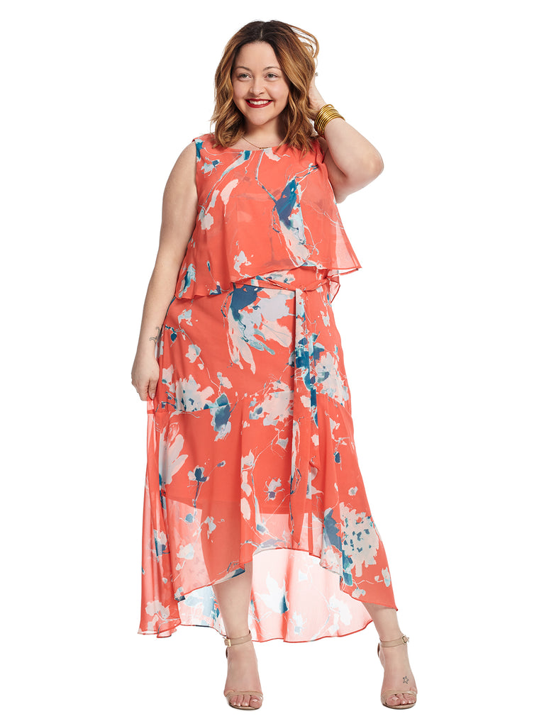 Overlay Coral Floral Print Dress