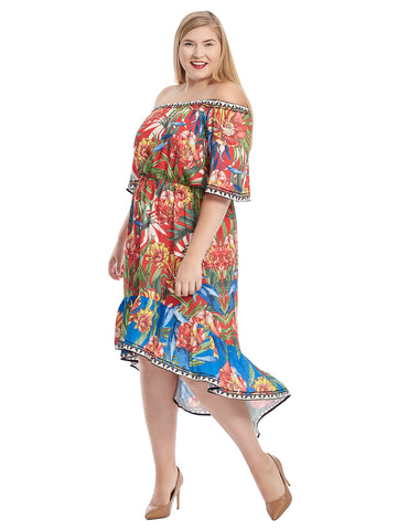 Off The Shoulder Multi Floral Print Midi Dress
