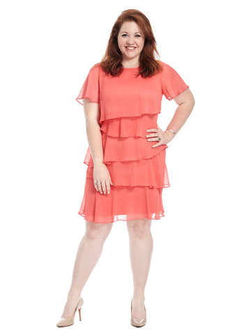 Layered Coral Shift Dress