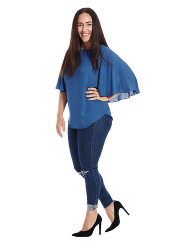 Cape Sleeve Top In Blue