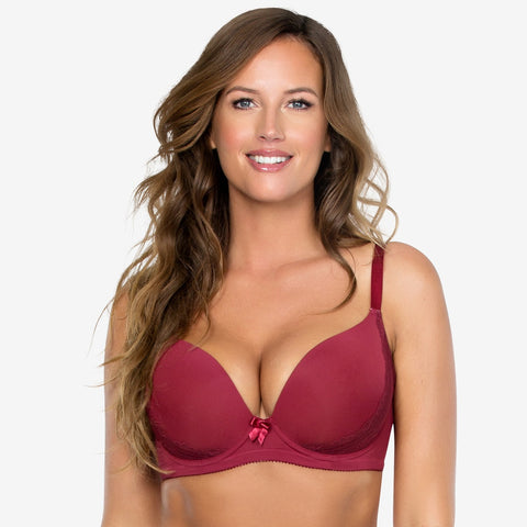 Casey Plunge Molded Bra In Ruby Wine