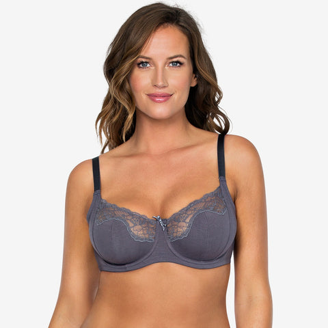 Tess Unlined Wire Bra In Charcoal