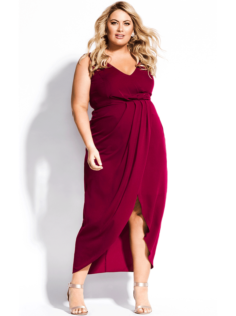 Cherish Maxi Dress In Garnet
