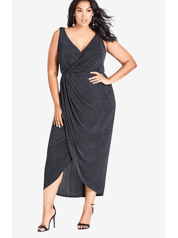 Luxe Drape Dress In Smoke