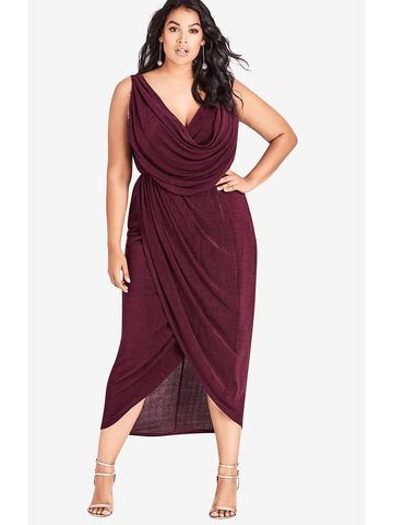 Luxe Drape Dress In Purple