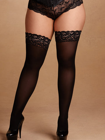 Lace Top Semi Opaque Thigh High Stay Ups