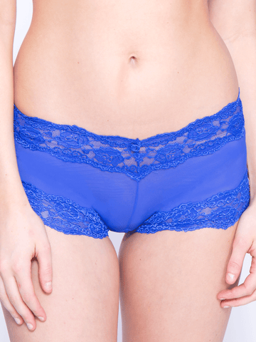 Kelly Lace and Mesh Boyleg Panty In Cobalt