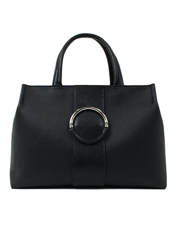 Mia Satchel In Black Pebble