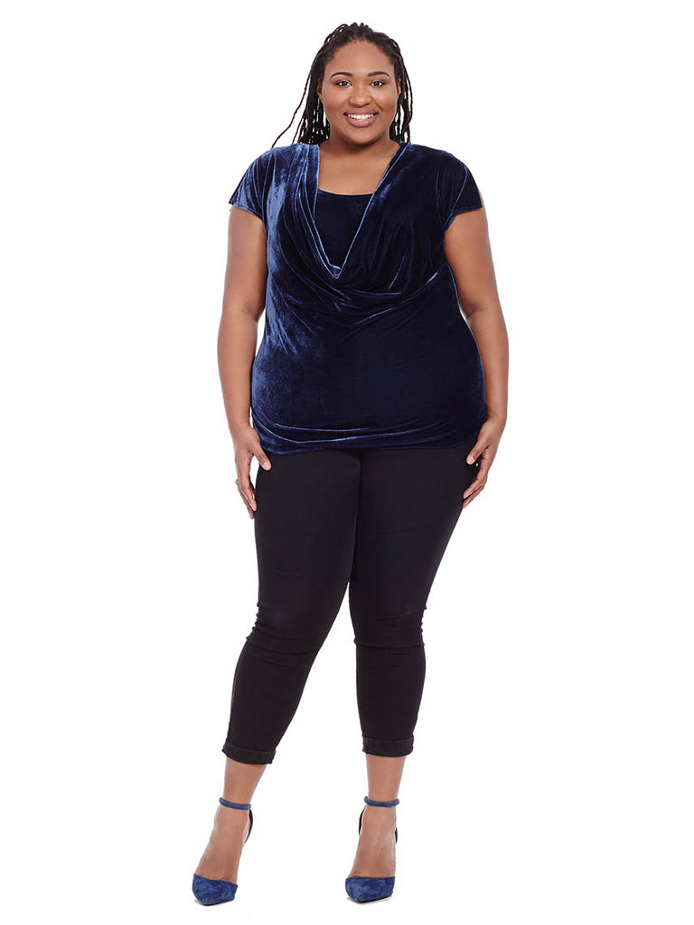 Navy Cowl Neck Velour Top