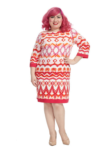 Shift Dress In Pink & Orange Aztec Print