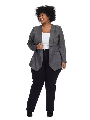Charcoal Draped Front Blazer