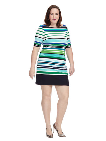 Shift Dress In Blue & Green Stripe