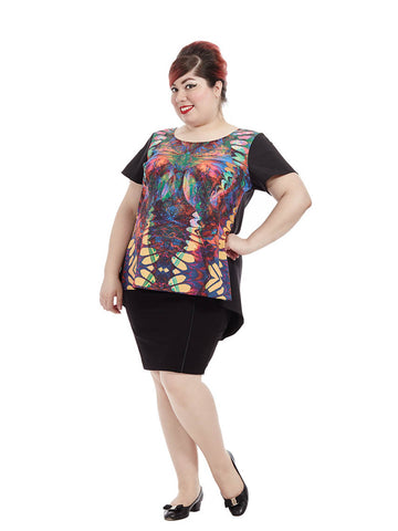 Abstract Butterfly Front Hi Lo Top