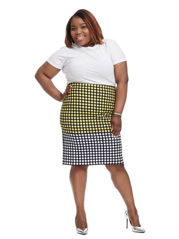 Two Tone Printed Pencil Skirt