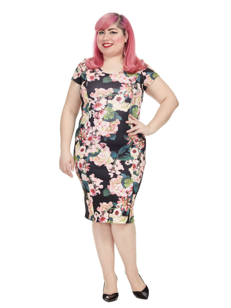 Zip Back Floral Scuba Dress