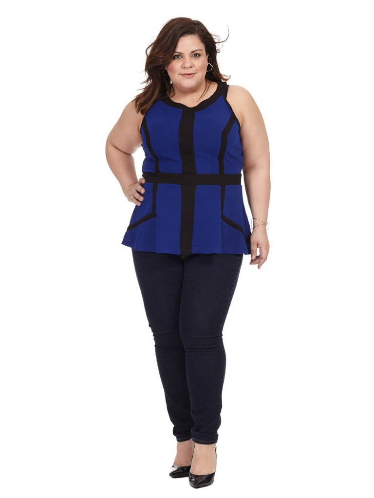 Cobalt Textured Peplum Top