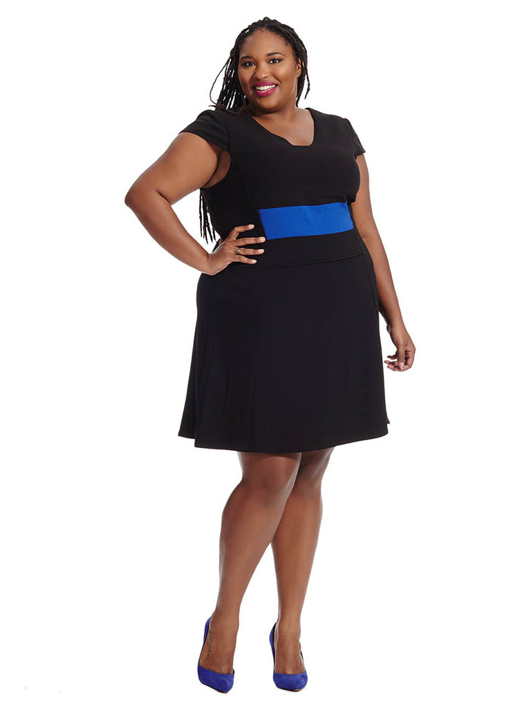 Black Dress With Contrasting Waistband
