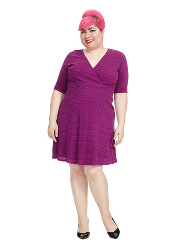 Wild Orchid Scallop Fit And Flare Dress