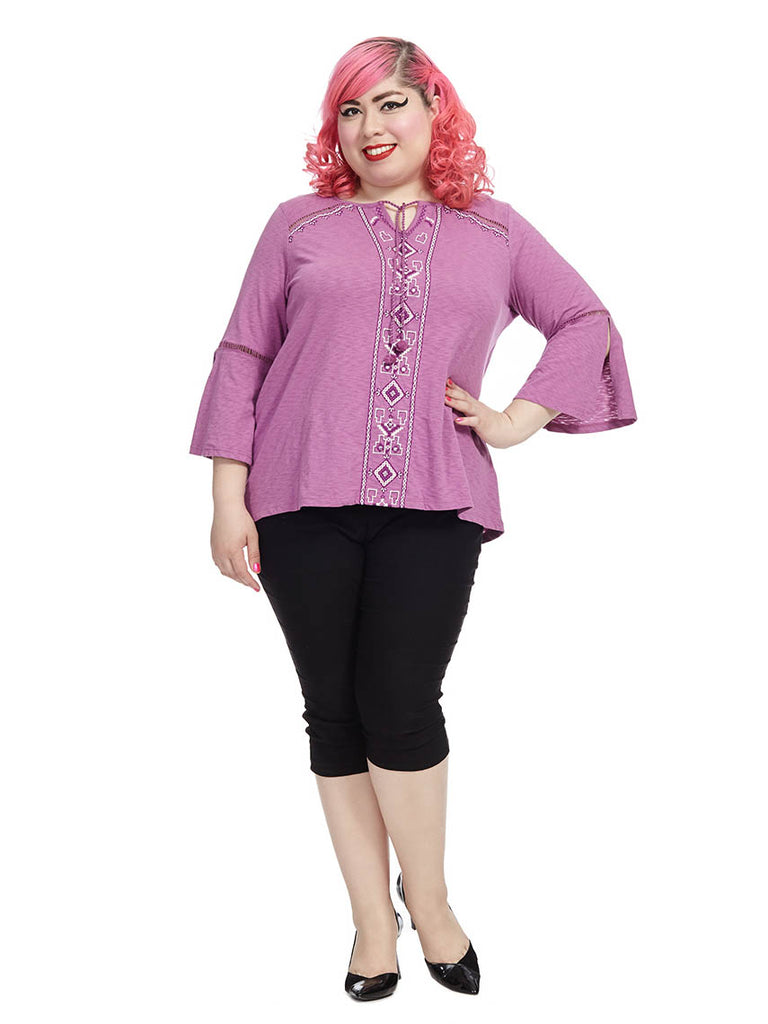 Embellished Top In Orchid